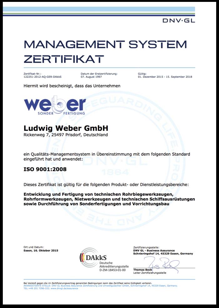 Zertifkat ISO 9001:2008