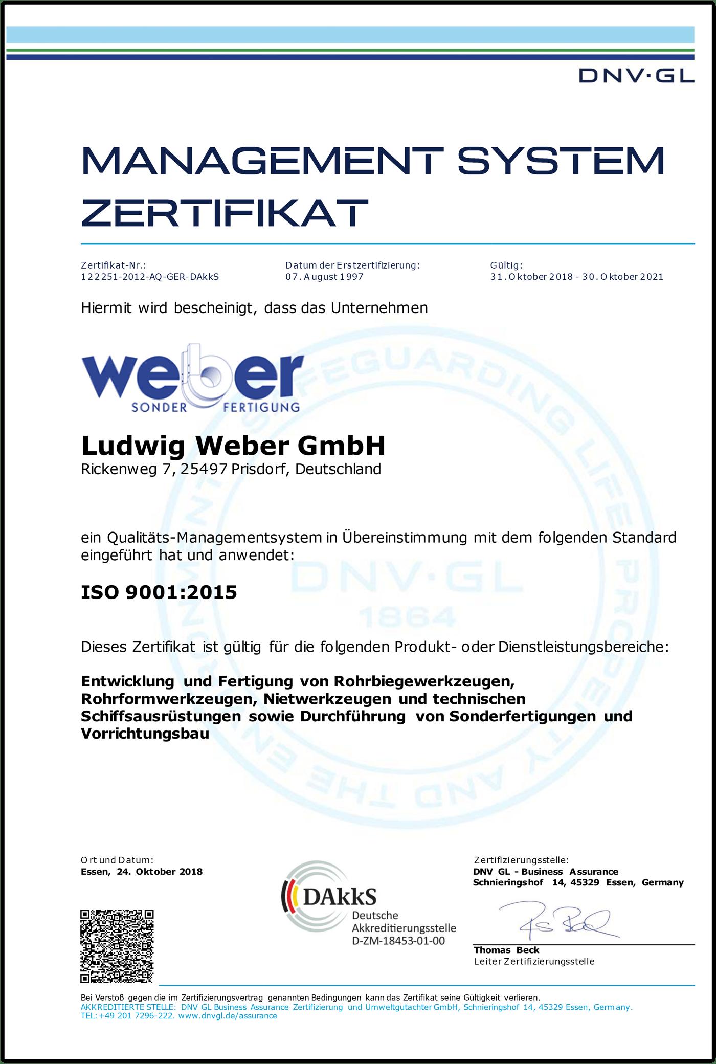 Zertifikat ISO 9001:2015 (2021)